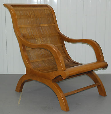 1 Of 4 Teak And Bamboo Plantation Armchairs, Matching Side Chairs Available