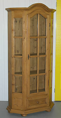 Lovely Thick Solid Farmhouse Country Pine Display Cabinet Bookcase Glass Panels