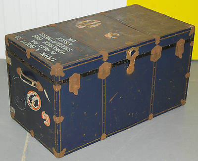 1 Of 3 Antique Seaman's Army Campaign Trunks Sailed Carinthia Montreal Liverpool
