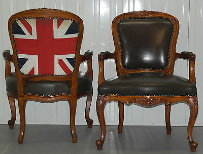 Pair Of Original Union Jack Upholstered To The Back Brown Leather Armchairs