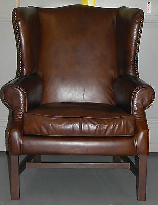 Vintage Brown Antique Leather Halo Daddy Downing Wingback Armchair Rrp £2400