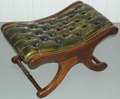 Aged Vintage Green Leather Chesterfield Slipper Footstool Lovely Rare Colour