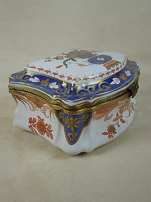 Rare Large Antique 1860 Imari Decorated French Faience Trinket Box $450 Value