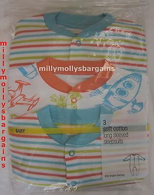 New Marks & Spencer Baby Boys Blue Babygrows Sleepsuits 9-12 6-9 Months