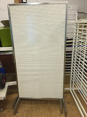 Cream Slatwall Double Sided Stand For Shop Display