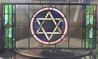 Rare Antique Stained Glass Window Star Of David Jewish Synagogue Temple Shul