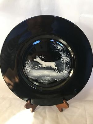 "Mary Gregory Style 11"" BLACK GLASS PLATE with Deer Stag in Winter Landscape"