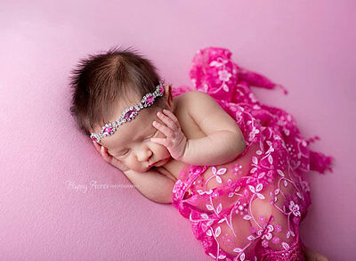 Hot pink Newborn Baby no-Stretch Lace Wrap Photography Prop US seller