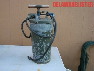 Antique Vintage Military Hand Pump Water Fire Extinguisher Galvanized Olive Drab