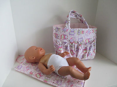 "Dolls Nappy Bag & Change pad, ""Pink Owls """