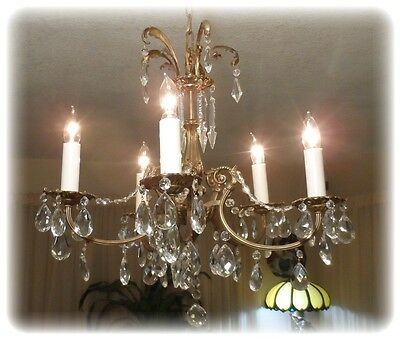 Antique Bronze Czechoslovakia Chandelier With 5 Light And Crystals