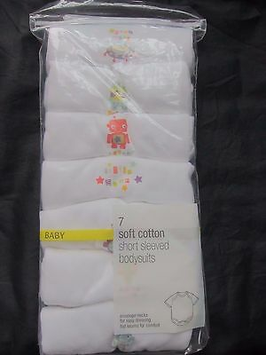 New Marks & Spencer Baby Boys White Bodysuits Vests x 7 9-12 Up To 3 Months