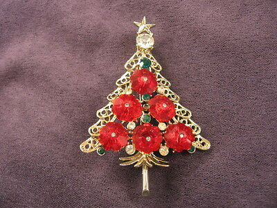 Vintage  Christmas tree pin brooch  W/ Ruby scalloped beads and Rhinestones Y10