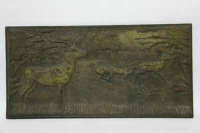 Antique Black Forest Carved Deers Wooden Plaque Wall Hanging