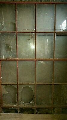 Antique salvage iron window sashes rare 20 panel 1912