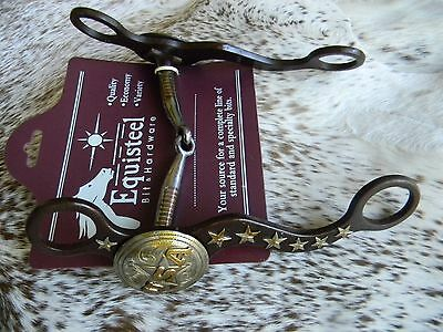 "Western Brown Steel 5"" Mouth Show Bit Silver USA Concho & Stars New Tack"