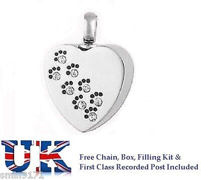 Cremation Ashes Jewellery Memorial Urn Pendant Ash  Keepsake - Paw Prints