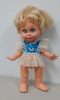 Baby Face Galoob Size Blue Dress w/ Silver Bows, Lacy Skirt & Sleeves
