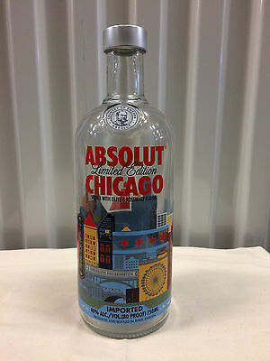 Empty, Collectable, Limited Edition Absolut Chicago 750ml Bottle
