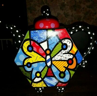 Romero Britto Ceramic Butterfly with Polkadots  Teapot