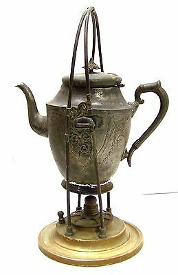 Antique Art Nouveau Pewter GERHARDI Co 1772 vintage teapot Coffee with stand
