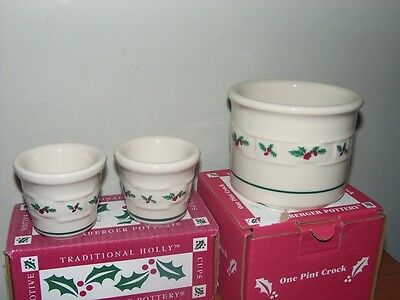 NEW IN BOXES Longaberger HOLLY pottery 1 PINT CROCK & (2) VOTIVE HOLDERS
