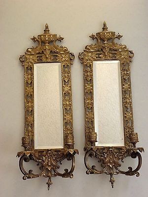 Pair Antique Bronze Wall Sconces w/ Beveled Mirrors-Dolphins & Crown Spectacular