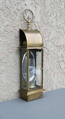 Vintage 1972 Chapman Tall Lantern Brass & Glass Wall Sconce