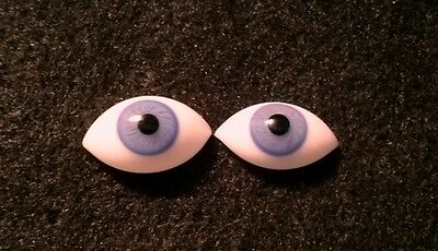 1 Pair Vintage 21mm Blue German Hand Blown pinch Back Oval Glass Doll eyes
