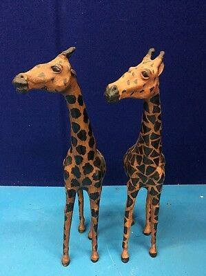 """2 Count Lot Vintage Leather Covered Paper Mache Giraffes 18"""" Tall MAZ6"""