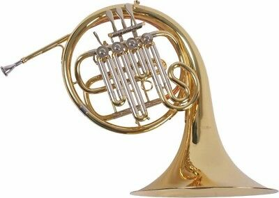 French Horn B, Bb Waldhorn, Wald Horn, A-Stopfventil mit Koffer - M. Lechrain