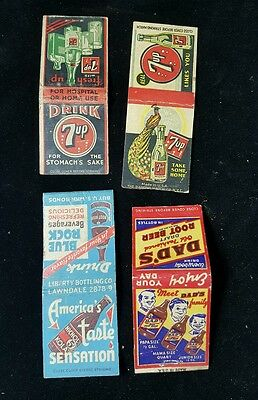 Lot of 4 Old 1930's-40's SODA Advertising MATCHBOOKS - Dad's 7up Nichol cola