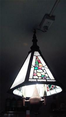 Rare Important Estate Antique Stain Glass Colorful Murano Chunk Glass Chandelier