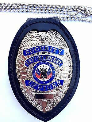Leather clip on security police badge insignia holder w/silver metal