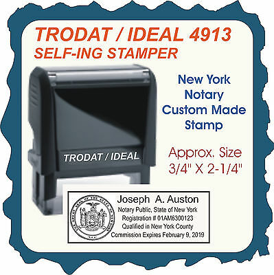 New York Notary Public, Trodat / Ideal, Custom, Self Inking Rubber Stamp