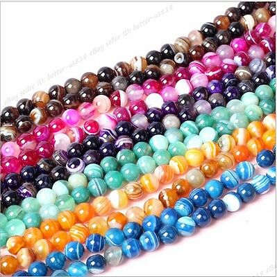 """Wholesale Natural Color Stripe Agate Onyx Gems Round Loose Beads Stone 15.5"""""""