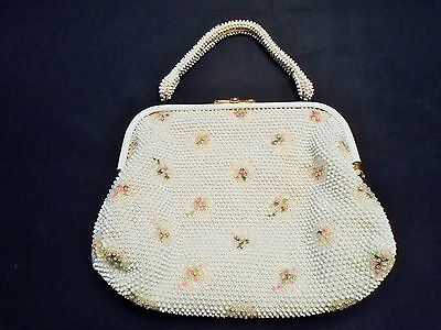 VINTAGE 1950s 60s WHITE & CLEAR BEADED PURSE HAND BAG PINK FLORAL EMBROIDERY