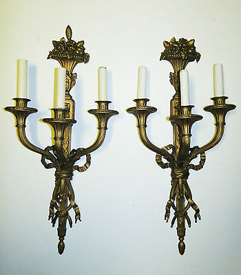 Pair Antique Large Brass Wall Sconces Ornate Louis Xvi Style Hollywood Regency