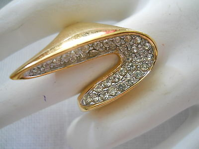 Vintage Panetta Sterling Ring Pristine Clear Rhinestones Organic Shape Signed