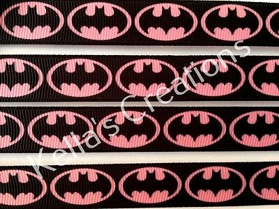 "Batman Pink Grosgrain Ribbon 5/8"" 16mm Sold by 2 Yards - Craft"