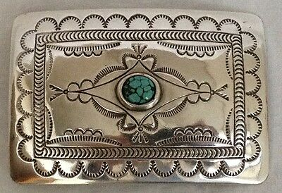 "Sterling Silver and Turquoise Belt Buckle 3"" x 2"" ~ NEW!"