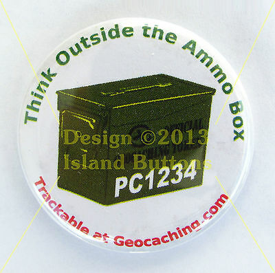 Think Outside the Ammo Box Geocaching Trackable Button