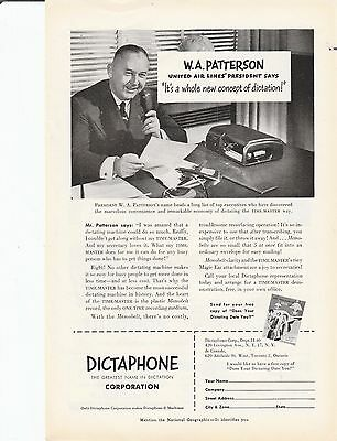 United Airlines President W A Patterson Dictaphone 1950 Original AD