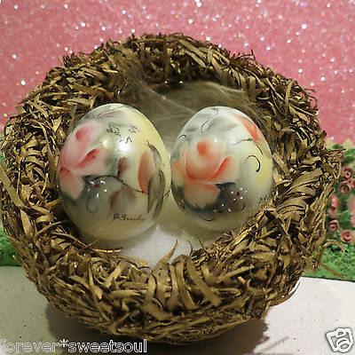 Vintage Milk Glass Eggs In Nest ~ Rose W Bird Rose W Butterfly Hand Painted