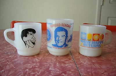 Fire King Anchor Hocking Mug Cup Jerry Lewis RONALD REAGAN MANY HAPPY RETURNS