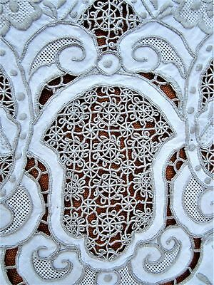 """Vintage Reticella lace richelieu embroidered cutwork tablecloth 79"""" x 64"""