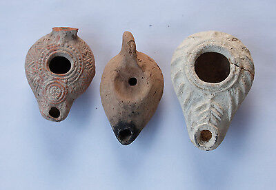 lot of 3 oil lamps Roman Byzantine Islamic different periods and conditions