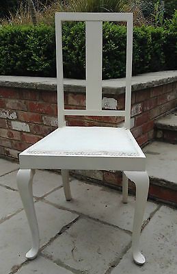 Bedroom/Dining White Chair 20th Century with painted fabric seat