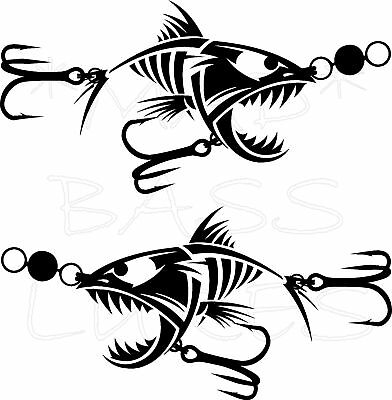 Fishing Lure Boat decals PAIR STICKERS 200mm 15 COLORS
