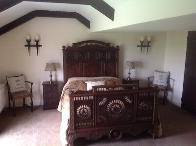 French Antique Breton Double Bed